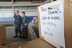 Donated supplies fill a hangar prior to being airlifted to areas in Japan affected by the recent 9.0 magnitude earthquake and subsequent tsunami.